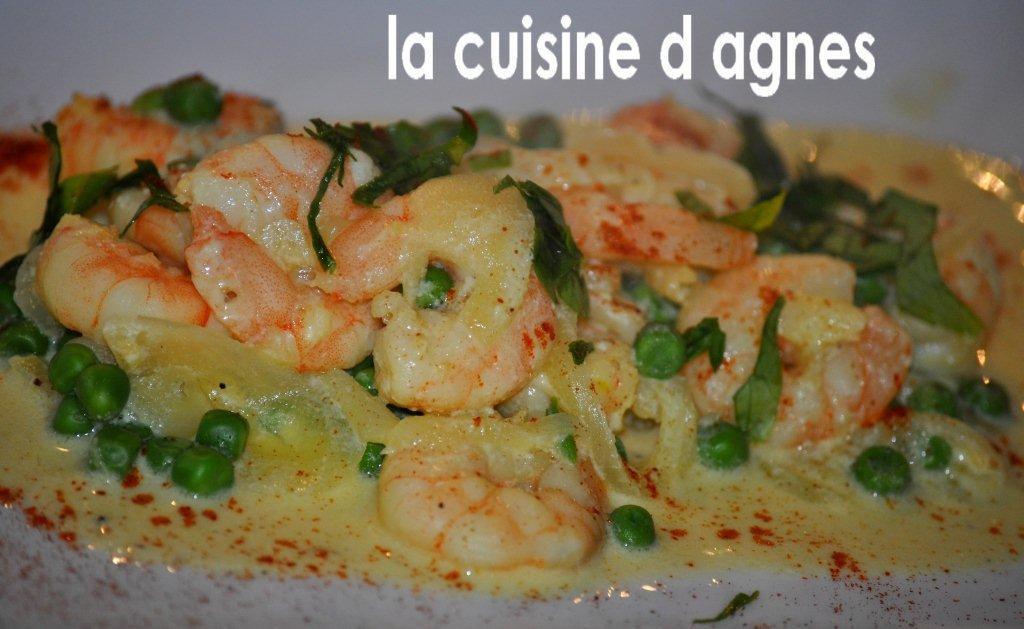 Crevettes saut es la cr me safran e la cuisine d - Cuisiner queue de langoustes crues surgelees ...