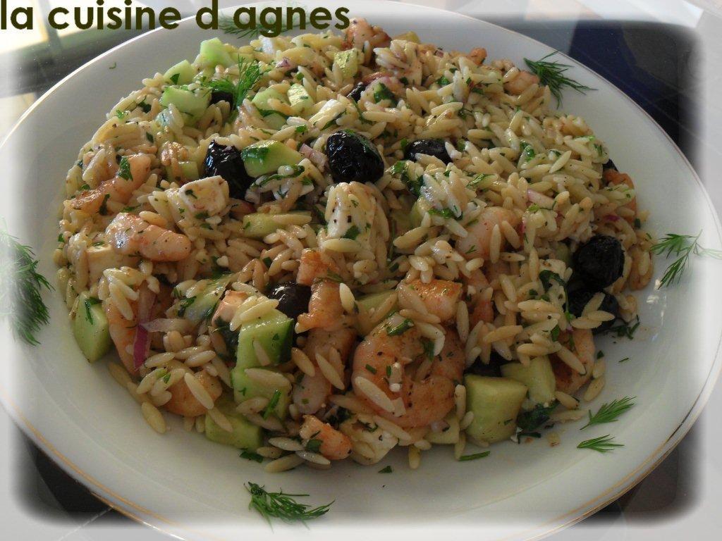 Salade de risoni aux crevettes grill es la grecque la for Cuisine grecque