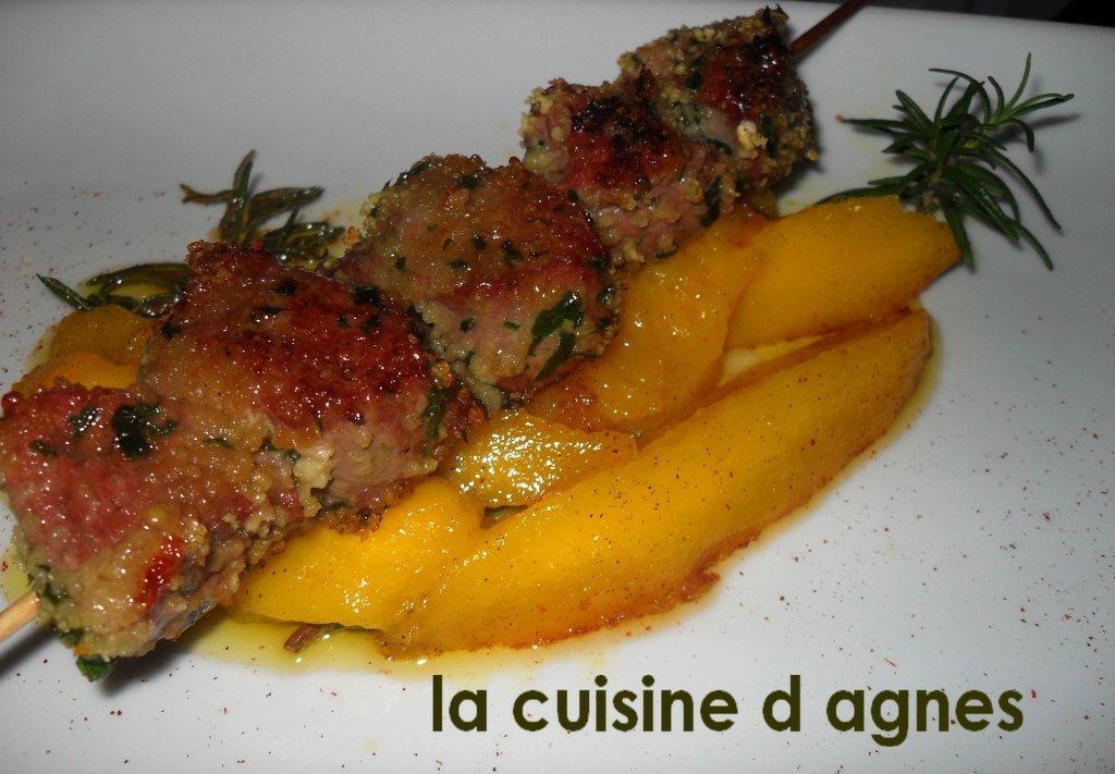 Brochette de magret de canard po l e de mangue la - Cuisiner un filet de canard ...