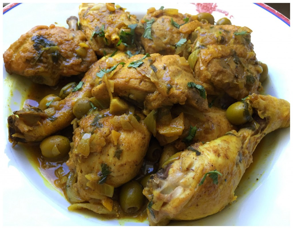 tajine de poulet au citron confit et aux olives
