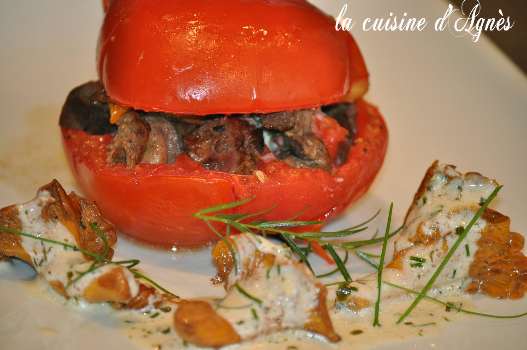 tomates confites aux girolles
