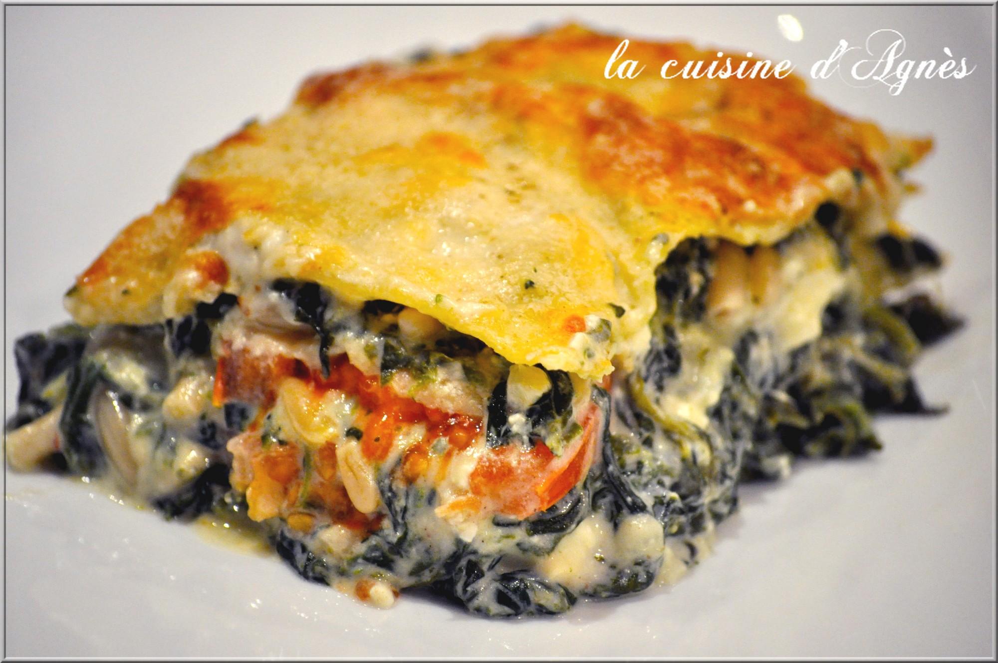 Lasagnes aux pinards pignons et feta la cuisine d for Aux beaux rivages la cuisine