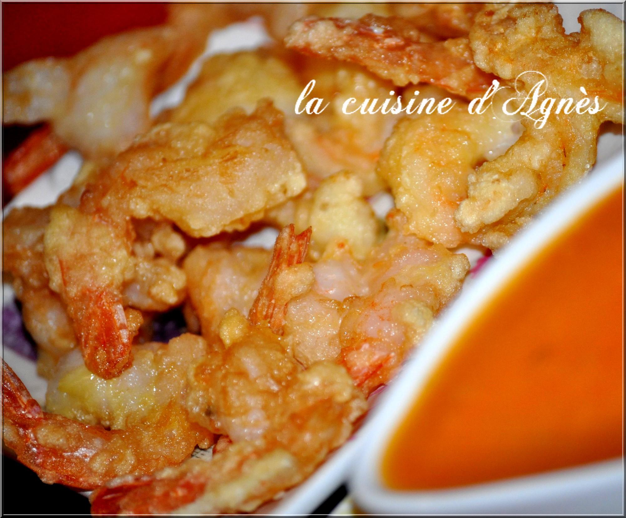 queues de crevettes frites sauce aigre douce 4