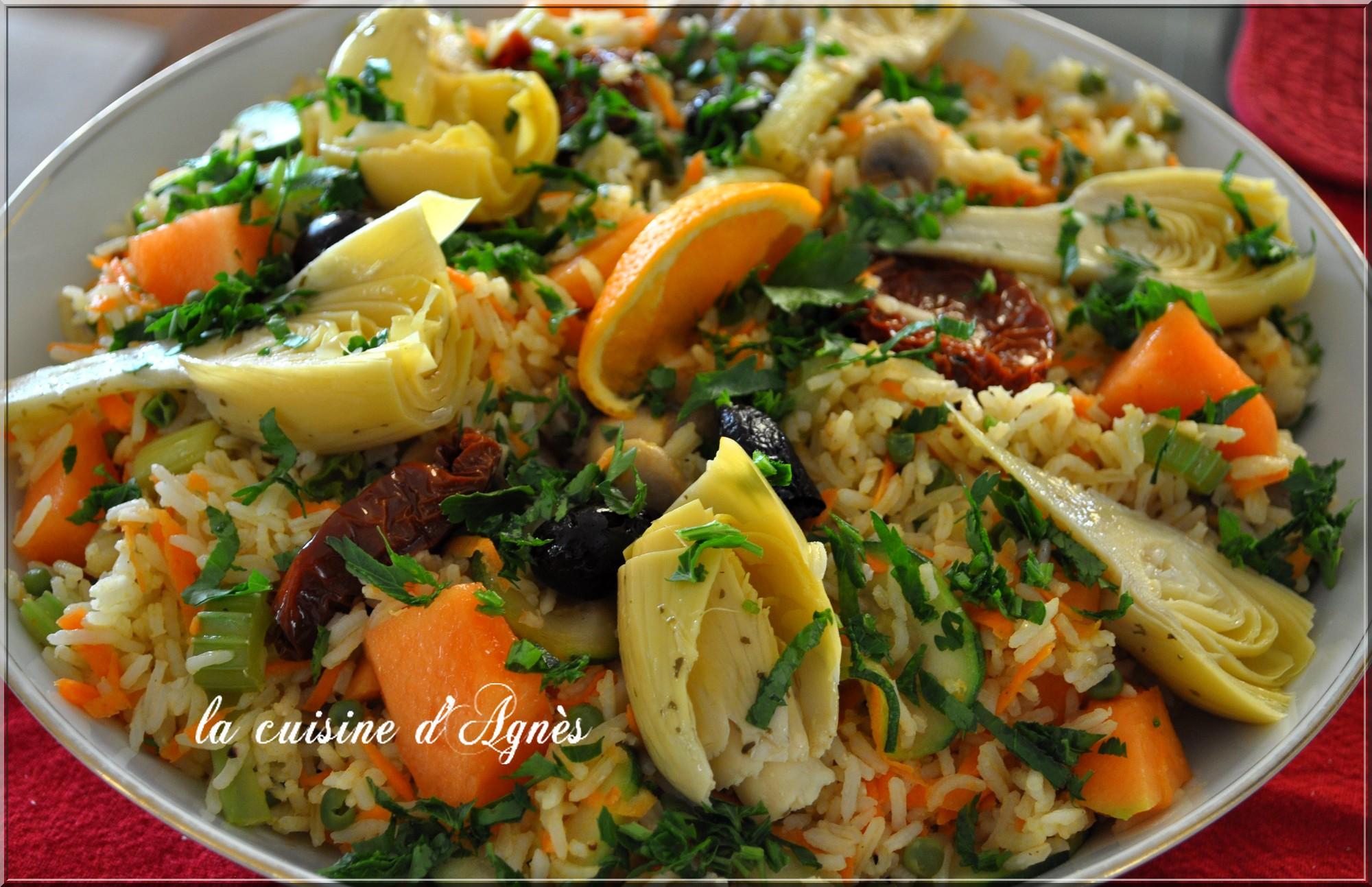 salade tiède de riz aux légumes