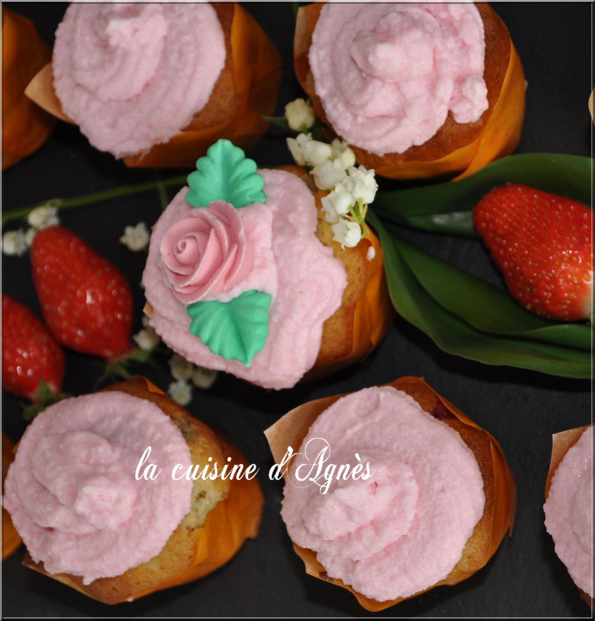 cupcakes fraises chocolat blanc