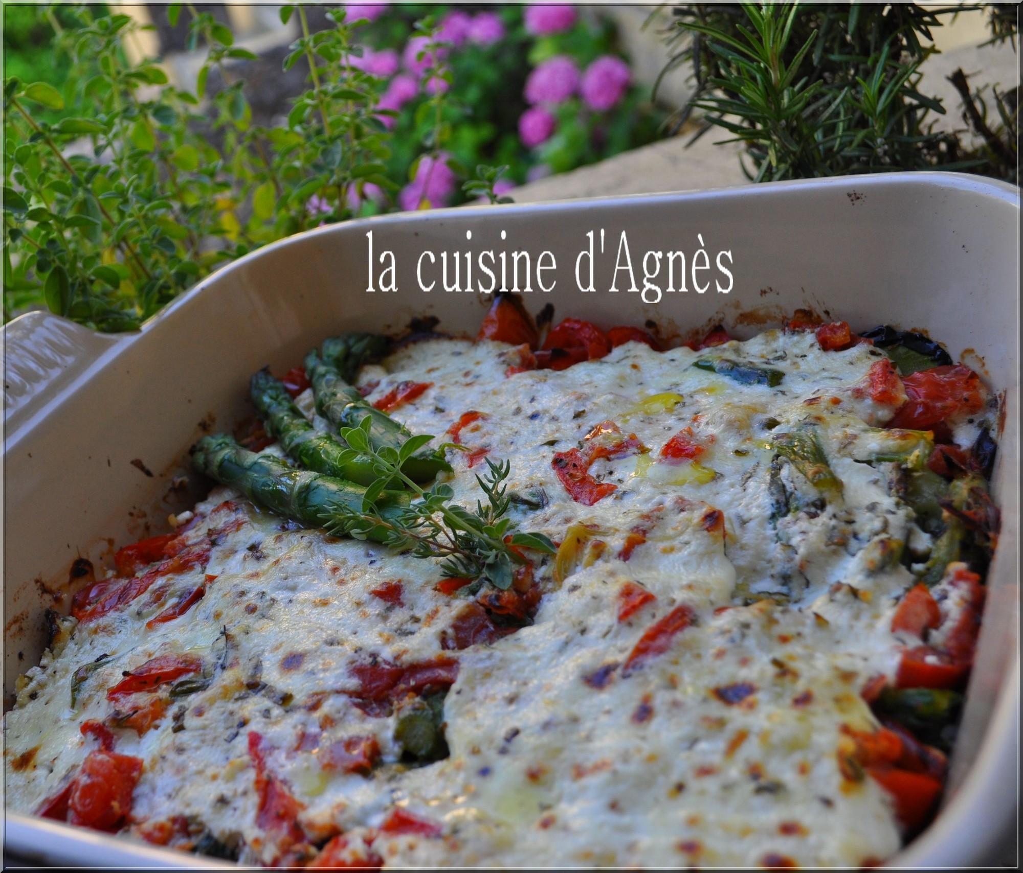 gratin d'asperges et de courgettes au brucciu