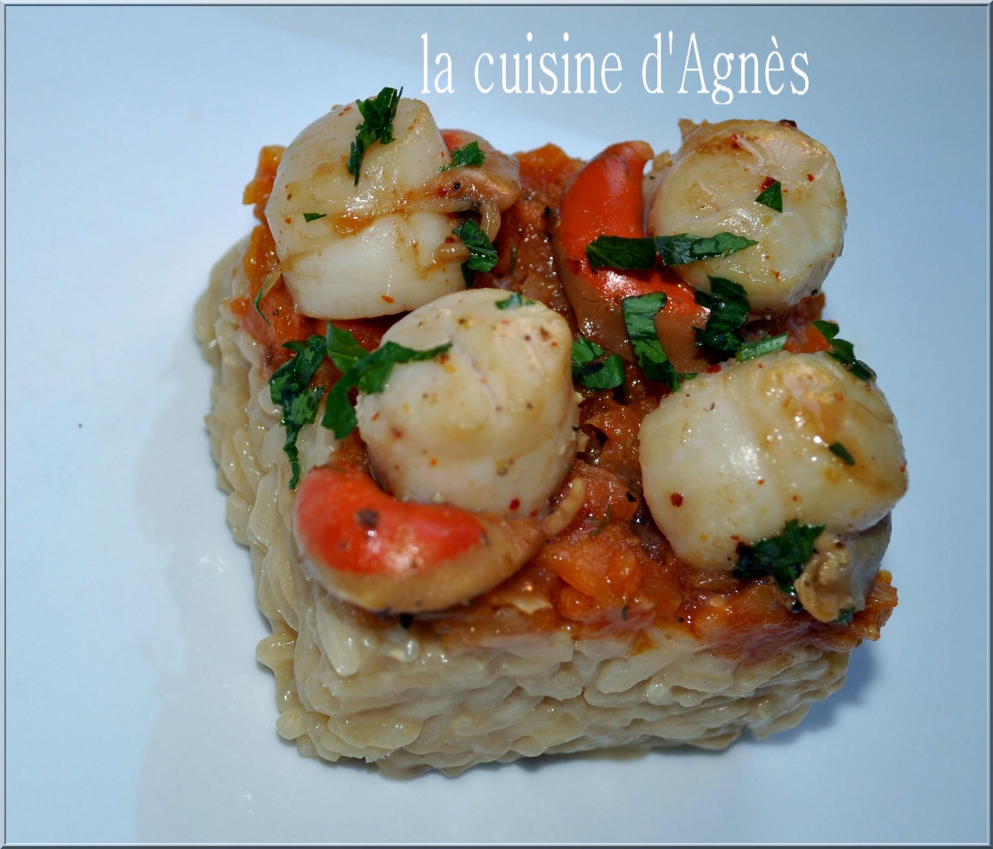 risotto aux saint jacques et concassé de tomates