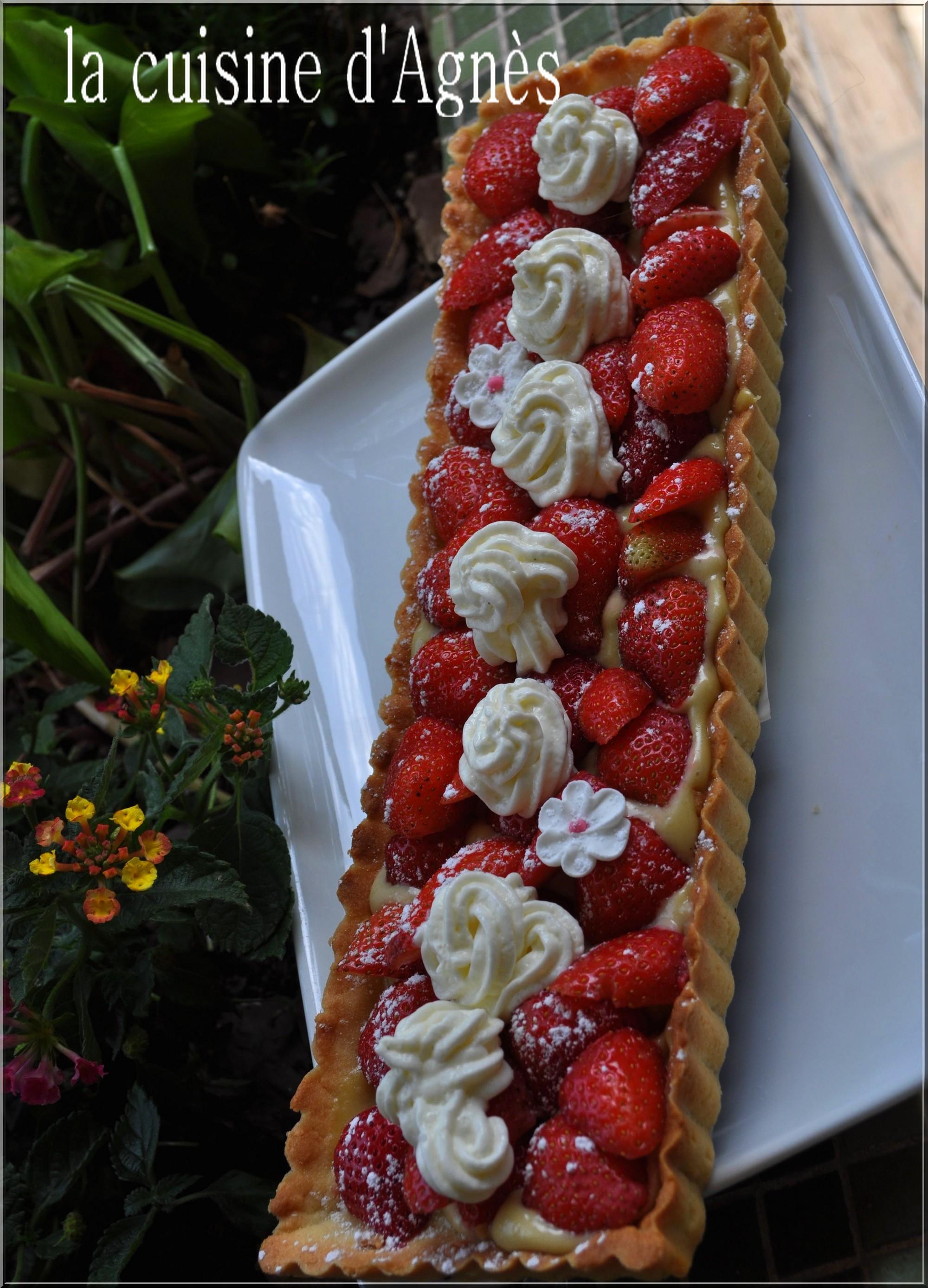 tarte aux fraises crème mousseline verveine