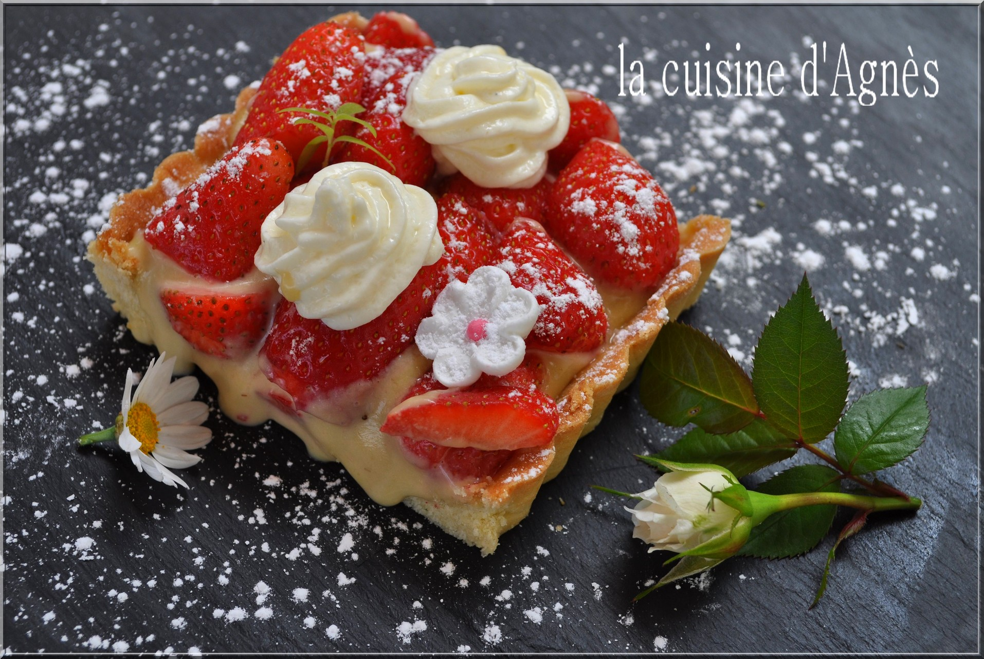 Tarte aux fraises cr me mousseline verveine la cuisine d 39 agn sla cuisine d 39 agn s - Decoration tarte aux fraises ...