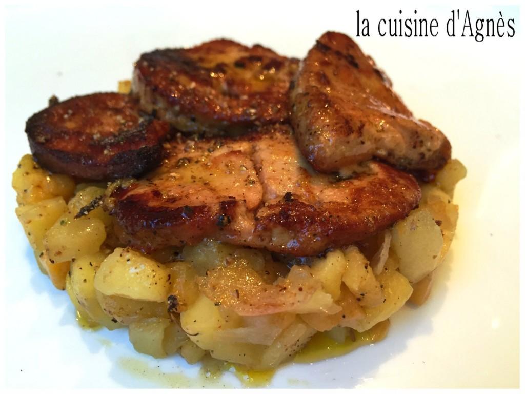 escalopes de foie gras poêlées pommes kaki