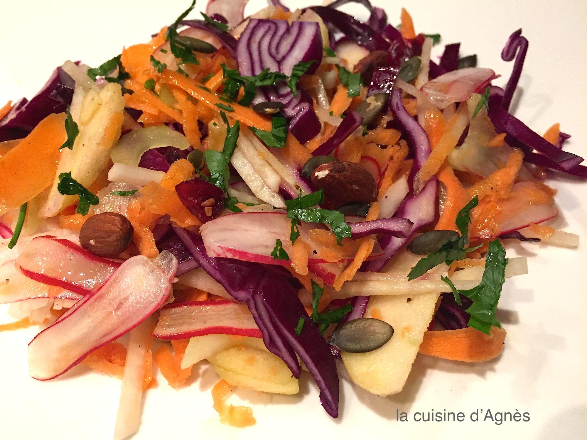 salade de chou rouge aux deux radis
