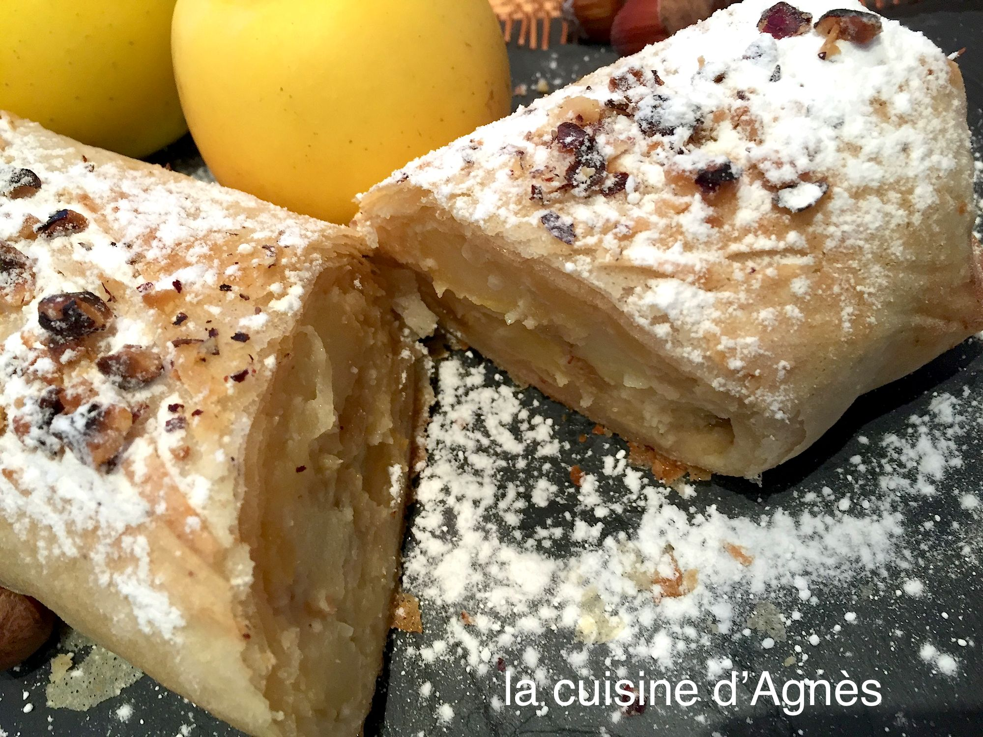 strudel aux pommes raisins secs et noisettes 3