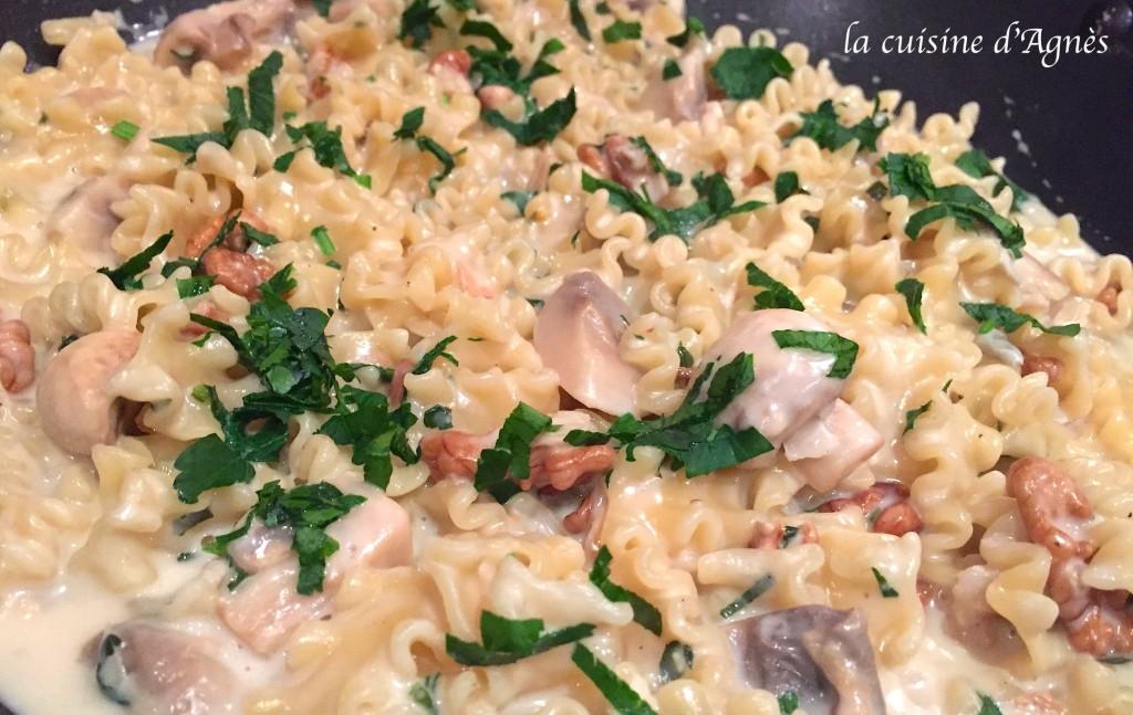 one pot pasta gorgonzola champignons 6
