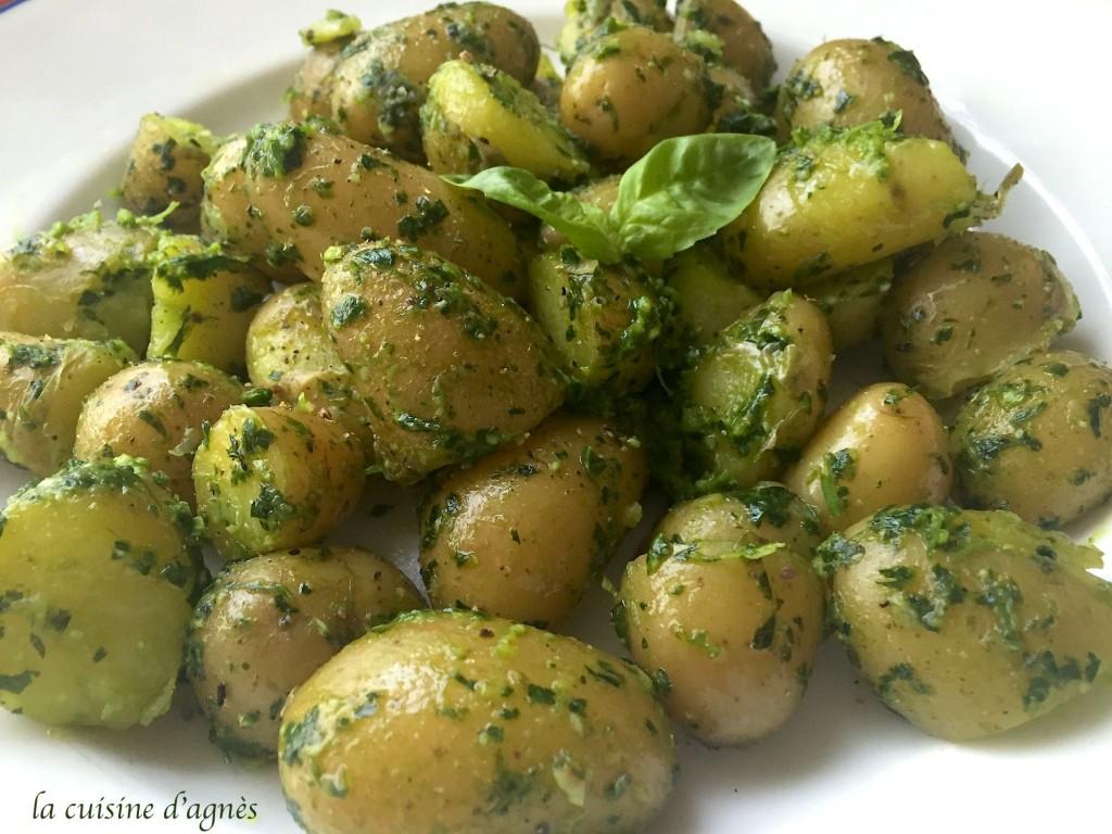 pommes de terre fondantes au pesto d'herbes