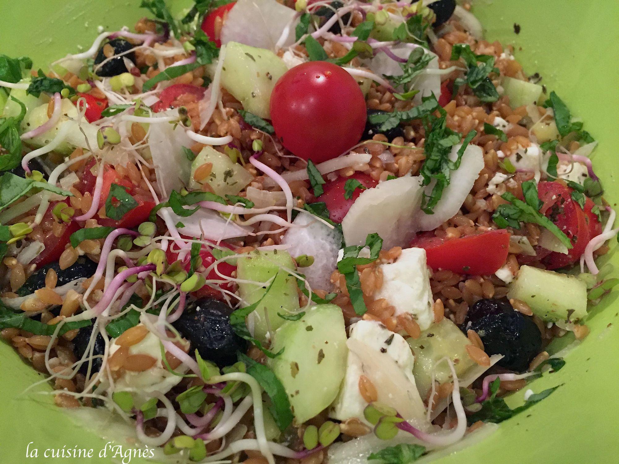 Salade de petit peautre la grecque la cuisine d 39 agn sla cuisine d 39 agn s - La cuisine des petits ...